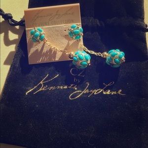 NEW Kenneth Jay Lane couture turquoise earrings.